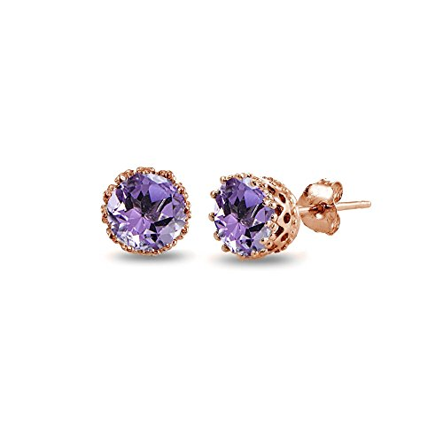 Rose Gold Flashed Sterling Silver Amethyst Crown Stud Earrings