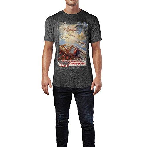 SINUS ART® Up in the Air Herren T-Shirts stilvolles dunkelgraues Cooles Fun Shirt mit tollen Aufdruck