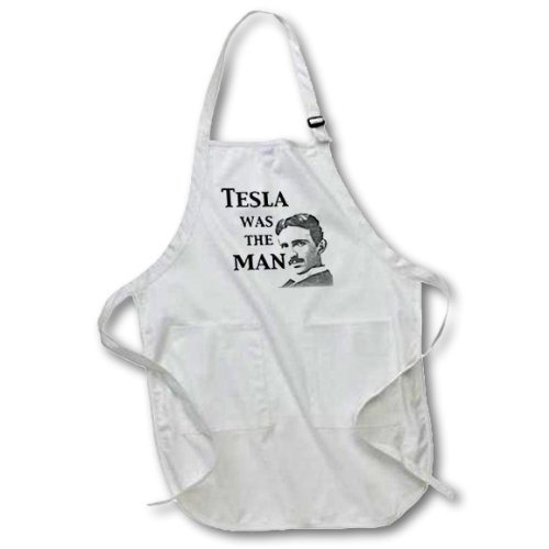 3dRose apr_123994_1 Tesla was The Man Nikola Tesla Scientist Science Humor-Full Length Apron, 22 by 30-Inch, White