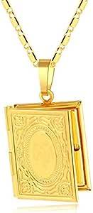 1 قطعة صورة صندوق قلائد الله قلادة الذهب العربية مطلي قلادة الدينية هدية