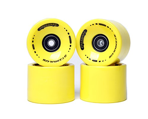 FREEDARE 70mm Longboard Wheels with ABEC-7 Bearings and Spacers(Yellow,Set of 4) ()