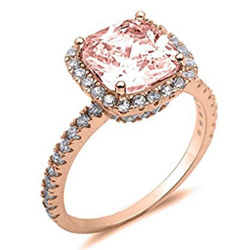 Solitaire Ring Rose Tone Rhodium PL Cushion Cut Simulated Morganite Clear CZ accent, Size-7 (Morganite Rose Ring)