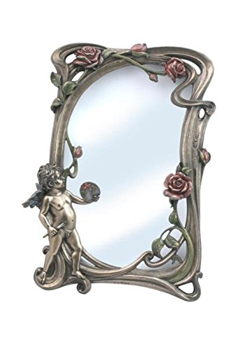 (13 Inch Victorian Pewter Look Mirror with Artist Cherub and Roses)