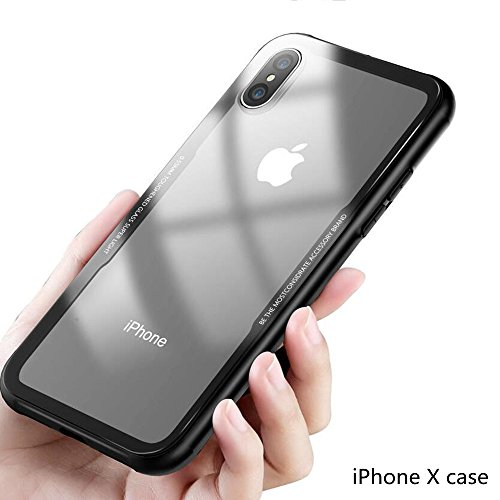 Accessori X Phon.Keklle Iphone X Case Slim Protective Case Silicone With Tpu Soft Shock Absorbent Edges Tempered Glass Back Plate Support Wireless Charging Clear