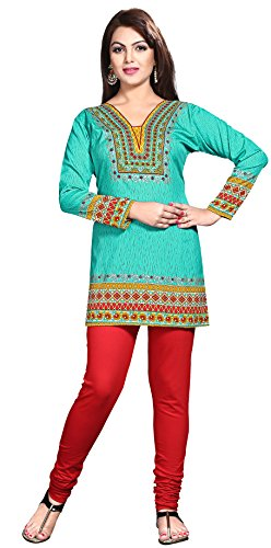 Maple Clothing Womens Printed Kurti Tunic Top Short Blouse Indian Clothes – S…Bust 34 inches, Green