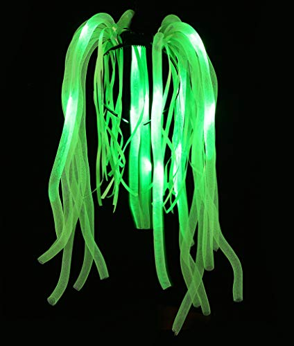 Fun Central R369, 1 Pc, Green LED Light Up Party Dreads, LED Headband, Dread Hair, Light Up Hair Accessories, Glowing Hair Accessories for St Patrick, Mardi Gras, Birthday, and Rave Parties