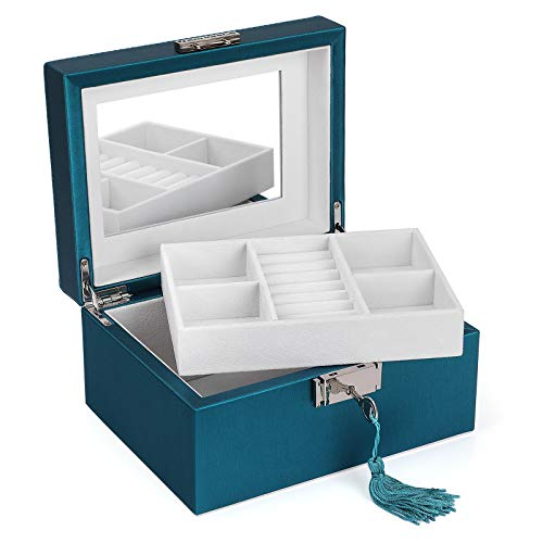SONGMICS 2-Layer Box, Lockable Jewelry Case, with Inside Mirror, Ring Rolls, 4 Cubes, Thickened Frame, Gift for Loved Ones, Peacock Green, UJBC237BU, 7.5''L x 6.3''W x 4.3''H, Pu, White Lining (Jewlry Case)