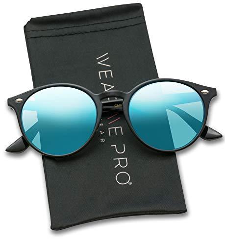WearMe Pro Classic Small Round Retro Sunglasses, Black Frame / Flashing Blue