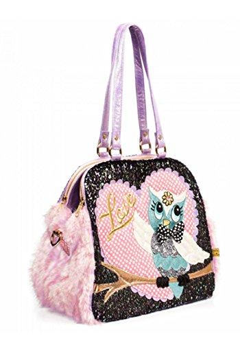 Irregular Choice What A Hoot Owl Love Faux Fur Novelty Handbag (One Size, Black & Pink) by Irregular Choice (Image #1)