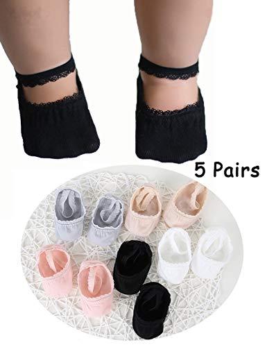 - Non-skid Baby Girl Socks Antislip Toddler Socks Newborn Baby Infants Sock for 0-36 Month 5 Pair (S(0-12month))