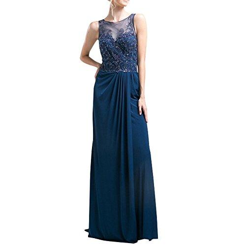 Charmant Damen Anmutig Dunkel Blau Spitze Chiffon Abendkleider ...