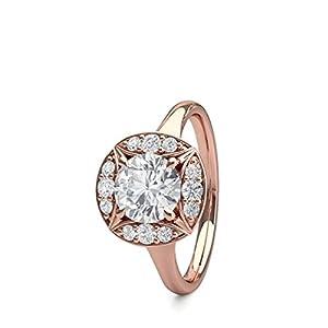 18K Rose Gold 4 Prong Setting Plain Halo Engagement Ring Size - 6.5