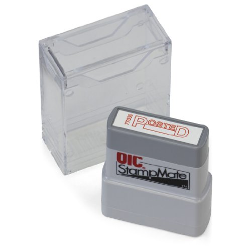 "OfficemateOIC Office Pre-Inked Message Stamp, ""Posted with Date"", Red, Refillable (77030)"