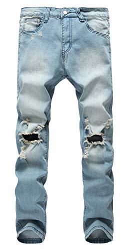 Qazel Vorrlon Men's Slim Fit Light Blue Stretch Destroyed Ripped Skinny Denim Jeans W28,Light Blue-1
