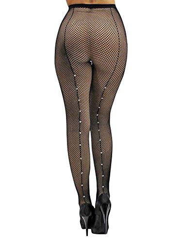 Black Back Seam Fishnet Tights - Luxury Divas Black Fishnet Back Seam Hosiery Tights With Rhinestones