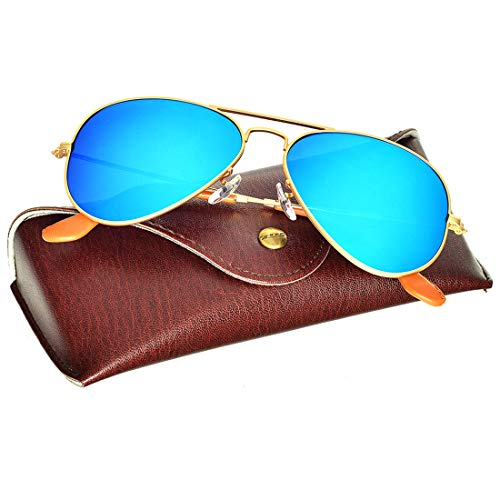 BNUS Corning natural glass lens aviator Sunglasses for men womens Italy made with Polarized Choices (Frame: Matte Gold/Lens: Blue Flash Polarized, Metal Frame) ()