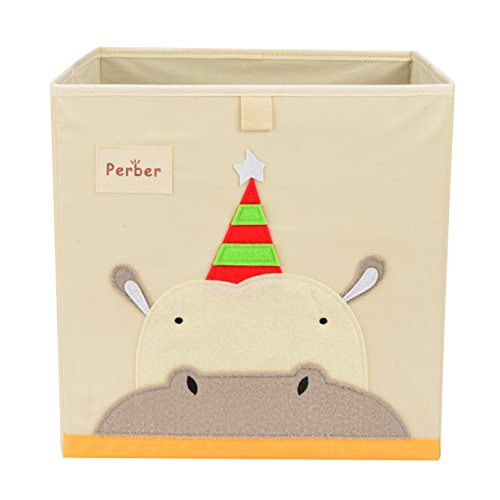 Perber Collapsible Storage Cubes Bin 13x13x13,Decorative Foldable Oxford Storage Box Baskets Containers- Large Organizer for Nursery Toys,Kids Room,Towels,Baby Clothes, Beige- Hippo