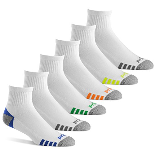 Prince Men's Quarter Performance Athletic Socks for Running, Tennis, and Casual Use (6 Pair Pack) (Men's Shoe Size 12-16 (US), - Cushioned Quarter Sport Socks
