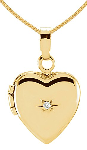 Childs Diamond Heart Locket (Small 14K Yellow Gold Heart Locket with Genuine Diamond Accent Charm Pendant 2.0mm Rope Necklace, 18