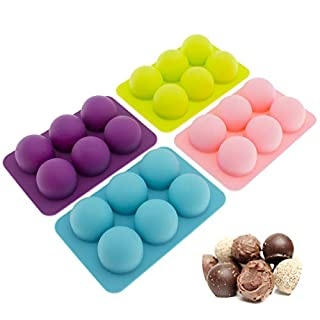 Silicone Chocolate Candy Molds [Round Truffle, 6 Cup] - Non Stick, BPA Free, Reusable 100% Silicon & Dishwasher Safe Silicon - Kitchen Rubber Tray For Ice, Fat Bombs and Soap Molds, 4-Pack