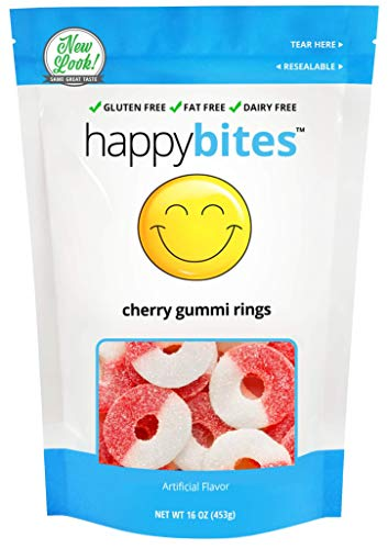 Happy Bites Cherry Gummi Rings - Gluten Free, Fat Free, Dairy Free - Resealable Pouch (1 Pound) -