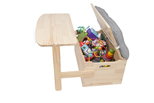 Wooden Desk and Chair Set w/Toy Box Storage - Converts to Bench - Includes Grey Cushion 25 x 22 x 13 in