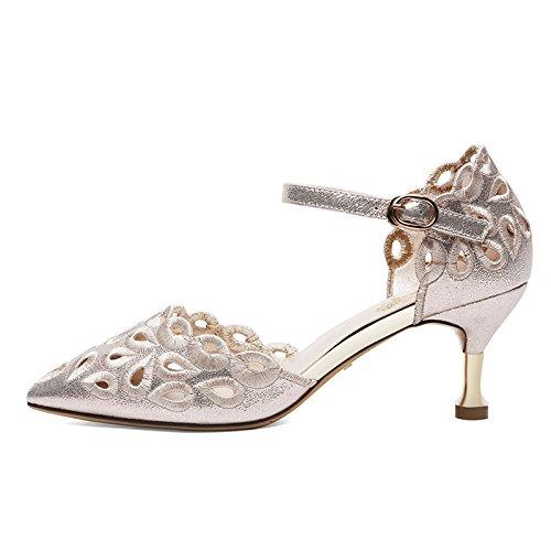 SHOESHAOGE Los Zapatos De Tacón Alto Y Gafas con Exposición De Encaje Elegante Correa Ranurada De Zapatos De Mujer EU35/UK87