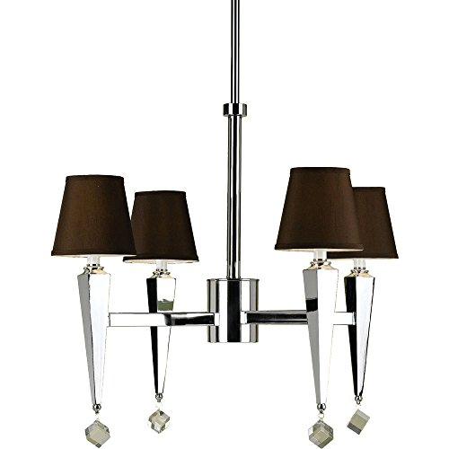 AF Lighting 6687-4H Margo 4-Light Chandelier- Chocolate Shades - Candice Chrome Chandelier