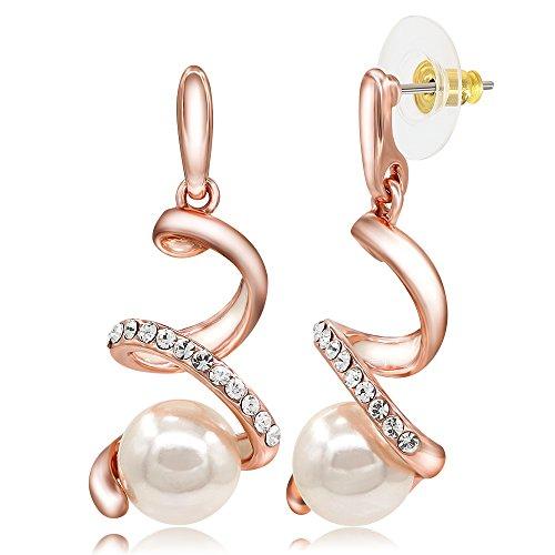 Kemstone Crystal Rose Gold Plated Snake Earrings Cream Simulated Pearl Dangle Earrings for Women
