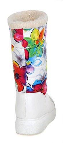 Chfso Womens Hiver Trendy Bout Rond Coloré Fausse Fourrure Doublé Milieu Manchette Milieu Wedge Talon Bottes Blanc