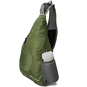 OutdoorMaster Packable Sling Bag - Small & Lightweight Foldable Crossbody Travel/Hiking Backpack for Men & Women - with Hidden Anti-Theft Pocket (Army Green)