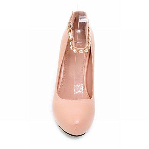 Latasa Dress High Chunky Heel strap Pumps Pink Fashion Beaded Ankle Womens 8YxrX8