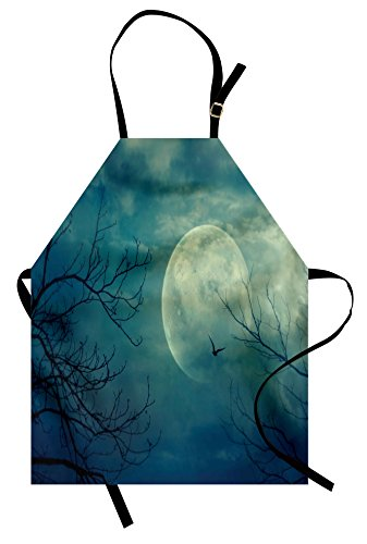 Ambesonne Horror House Apron, Halloween with Full Moon in Sky and Dead Tree Branches Evil Haunted Forest Print, Unisex Kitchen Bib Apron with Adjustable Neck for Cooking Baking Gardening, Blue