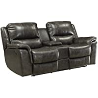 Coaster Home Furnishings 601822P Two-Tone Wingfield Motion Collection Power Loveseat, Charcoal