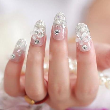 minelect (TM) nueva novia completo uñas falsas Shimmer - uñas postizas de gel stikers 24pc 3d: Amazon.es: Electrónica