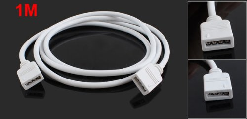 Cable de Extension Tira LED RGB 4 Pin Hembra a Hembra Blanco 1M R SODIAL