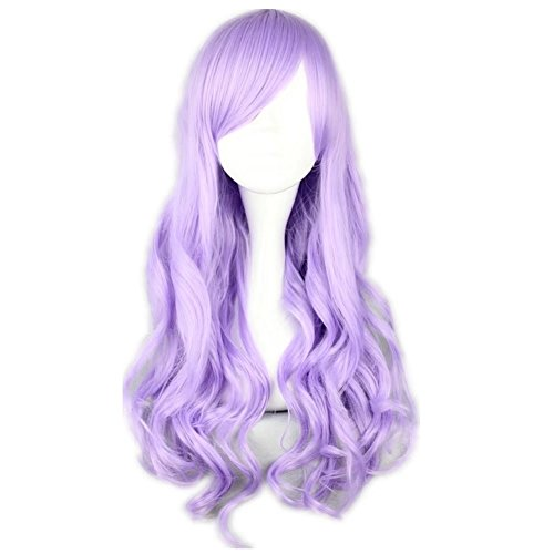COSPLAZA Cosplay Wig Light Purple Long Wavy Curly Anime Show Party Hair ()