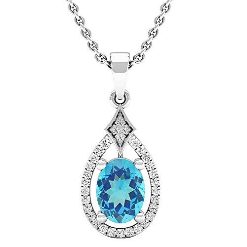 Dazzlingrock Collection 14K 8X6 MM Oval Blue Topaz & Round Diamond Ladies Pendant (Silver Chain Included), White Gold ()