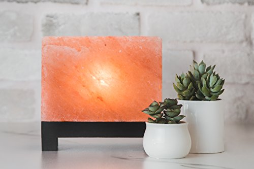 100% Authentic Natural Himalayan Salt Lamp; Hand-Carved Modern Rectangle in Pink Crystal Rock Salt from The Himalayan Mountains; Footed Wood Base, UL-Listed Dimmer Cord; 11.5 lbs by d'aplomb (Image #1)