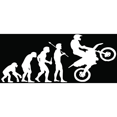 Evolution dirt bike motocross racing car truck window bumper vinyl graphic decal sticker 6 inch 15 cm wide matte white color