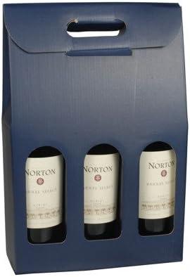 Pap-Star Caja de Transporte Vino/Regalo Cajas en Diferentes diseños/para 1 – 2 – 3 Botellas/Regalo de Transporte cartón para de Color Blanco y Rojo de Vino, Azul, 5 St Wein-Tragekarton 3-Flaschen: Amazon.es: