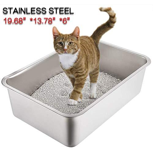 Yangbaga Katzentoilette Groß, Katzentoilette aus Edelstahl, robuste Katzentoilette, Nicht leicht zu verzerren…