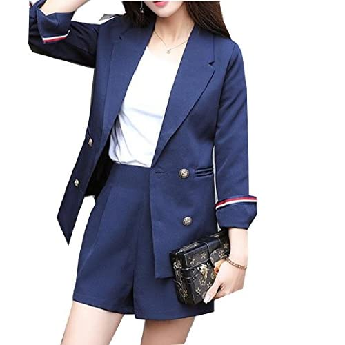 Howme Womens Contemporary Solid Blazer Jacket and Pants Suit Set
