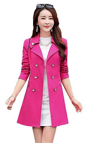 Donna Slim Lunghe Di Ragazza Primaverile Bavero Trench Rot Chic Fit Cappotto Coat Lunga Rose Transizione Plus Elegante Autunno Giubotto Squisito Fashion Maniche Prodotto fyY76gb