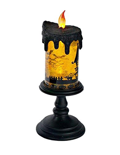 [Lightahead LED flameless Candle with moving patterns Halloween LED Lights Lantern Black base with Orange Water (Spinning Bats Design) For Special festival day decoration and] (Halloween Candles)