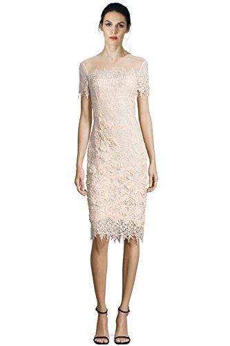 Teri Jon Illusion Lace Short Sleeve Sheath Cocktail Dress