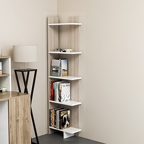 Bookcase 18' (Decorotika Alice 5-Tier Corner Bookcase Bookshelf, Storage and Organizer for Living Room, Dining Room, Bedroom, Kitchen and Bathroom, Multiple Use Option, Modern Design (Cordoba))