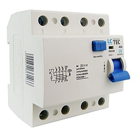 LC Fi-Schalter 40A 30mA 4-Polig Typ AC FI-Schutzschalter ...