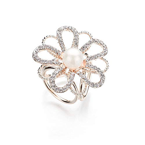 (JczR.Y Vintage Camellia Flower Rhinestones Brooch Hollow White Imitation Pearl Crystal Brooch Corsage Shawl Square Buckle for Women Wedding Party Boutonniere)