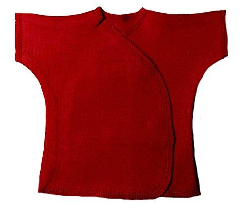 Jacqui's Unisex Baby Red Short Sleeve Kimono T-Shirt, Micro Preemie